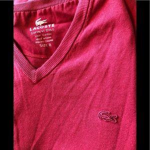 Lacoste designer v neck red pullover sweater XL